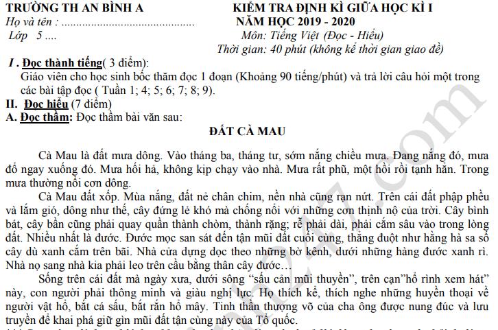 Đề thi giữa kì 1 môn Tiếng Việt lớp 5 năm 2019 - TH An Bình A