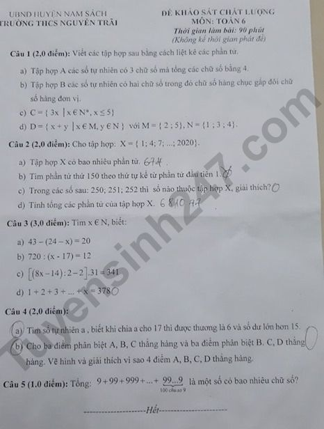 Đề khảo sát đầu năm lớp 6 môn Toán - THCS Nguyễn Trãi 2019