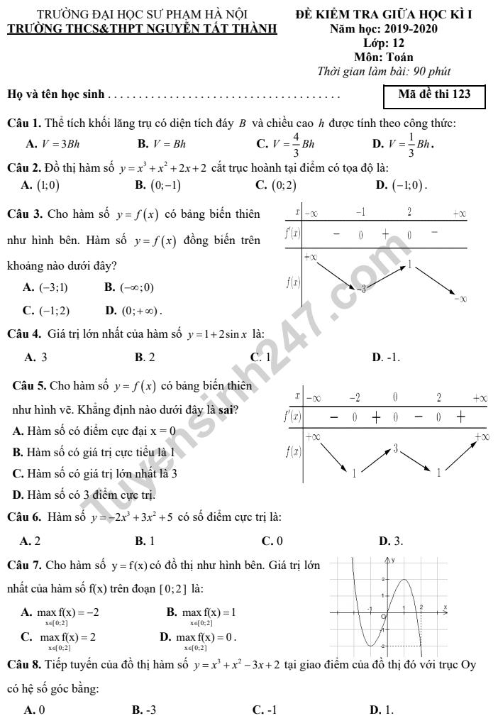 Đề thi giữa kì 1 lớp 12 môn Toán 2019 - THCS THPT Nguyễn Tất Thành Có đáp án