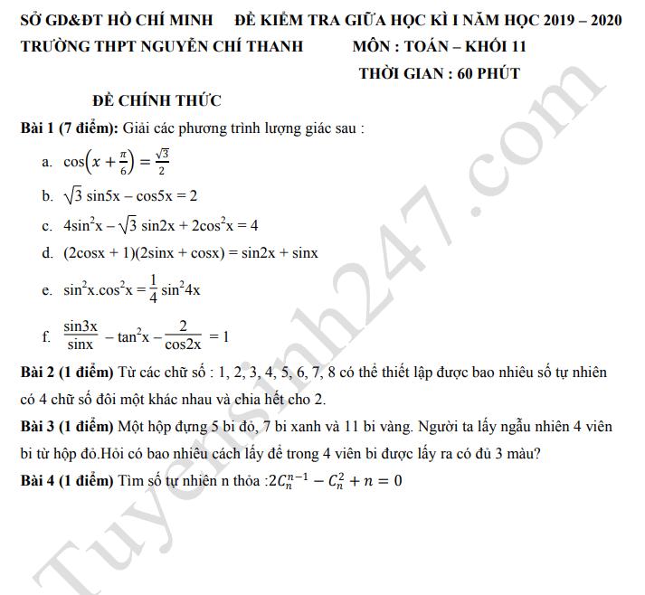 Đề thi giữa kì 1 môn Toán lớp 11 - THPT Nguyễn Chí Thanh 2019