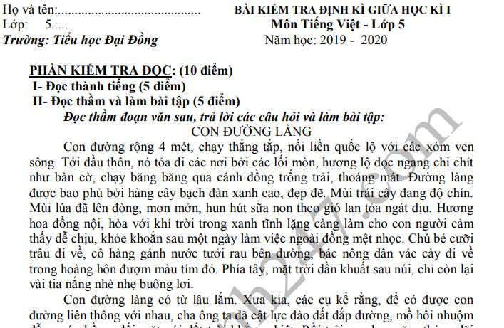 Đề kiểm tra giữa kì 1 lớp 5 môn Tiếng Việt - TH Đại Đồng 2019