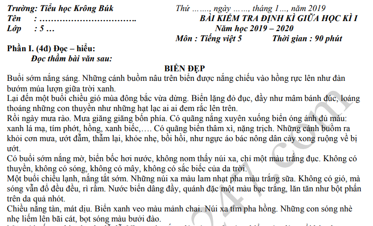 Đề thi giữa kì 1 môn Tiếng Việt lớp 5 TH Krông Búk 2019