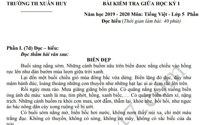 Đề thi giữa kì 1 môn Tiếng Việt lớp 5 - TH Xuân Huy 2019