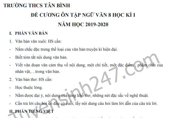 Đề cương ôn tập kì 1 lớp 8 môn Văn 2019 - THCS Tân Bình