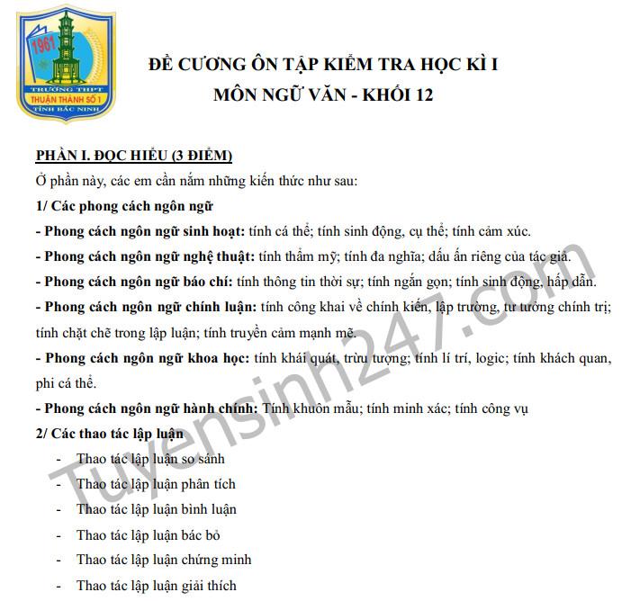 Đề cương kì 1 lớp 12 môn Văn năm 2019 - THPT Thuận Thành