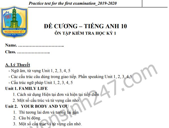 Đề cương ôn tập kì 1 môn Anh lớp 10 - THPT Thuận Thành số 1 2019