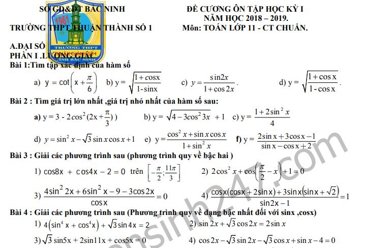 Đề cương ôn tập kì 1 lớp 11 môn Toán 2019 - THPT Thuận Thành số 1