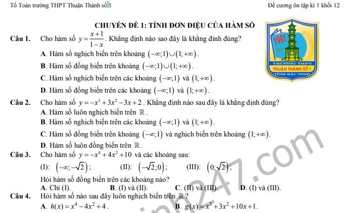 Đề cương lớp 12 ôn tập kì 1 môn Toán THPT Thuận Thành số 1 năm 2019