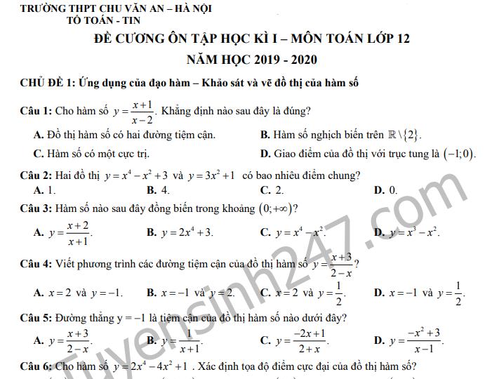 Đề cương ôn tập kì 1 môn Toán lớp 12 - THPT Chu Văn An 2019