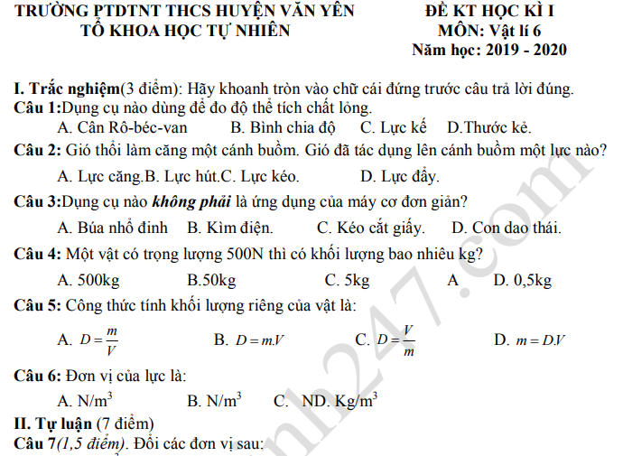 Đề kiểm tra kì 1 lớp 6 môn Lý THCS huyện Văn Yên 2019 - 2020