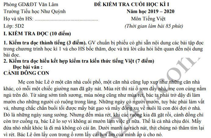 Đề thi kì 1 môn Tiếng Việt lớp 5 TH Như Quỳnh 2019 - 2020