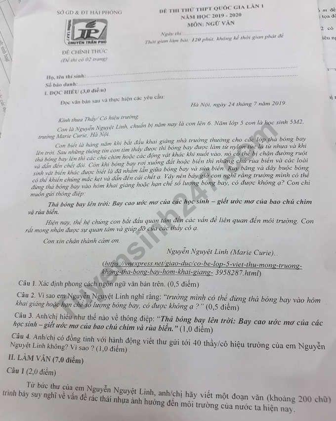 Đề thi thử THPTQG 2020 môn Văn lần 1 THPT Chuyên Trần Phú
