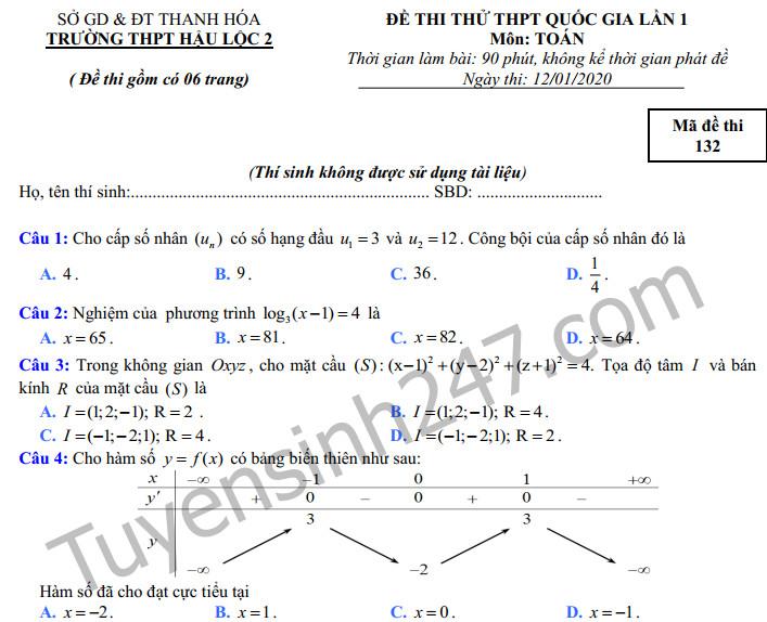 Đề thi thử THPTQG 2020 lần 1 môn Toán THPT Hậu Lộc 2