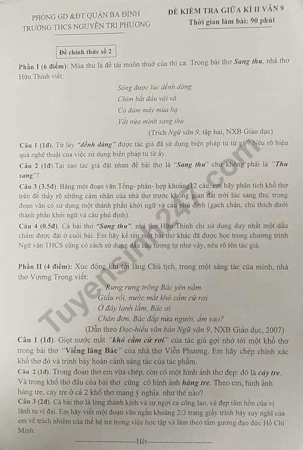 Đề kiểm tra giữa kì 2 lớp 9 môn Văn 2019 - THCS Nguyễn Tri Phương