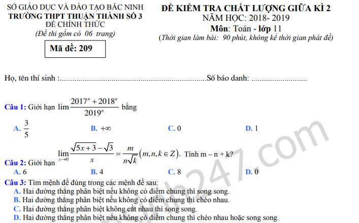 Đề thi giữa kì 2 môn Toán lớp 11 - THPT Thuận Thành 3 năm 2019