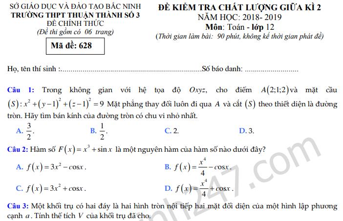 Đề thi giữa kì 2 môn Toán lớp 12 năm 2019 - THPT Thuận Thành 3