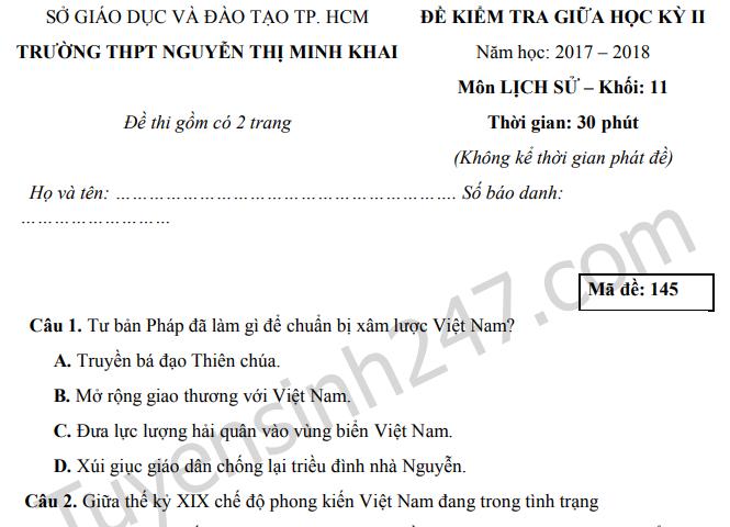 Đề thi giữa kì 2 môn Sử lớp 11 THPT Nguyễn Thị Minh Khai 2018