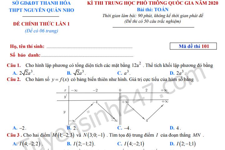 Đề thi thử THPTQG môn Toán 2020 - THPT Nguyễn Quán Nho