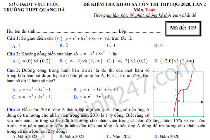 Đề thi thử môn Toán THPTQG 2020 - THPT Quang Hà lần 2