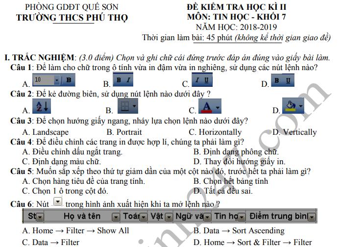 Đề thi kì 2 môn Tin lớp 7 năm 2019 - THCS Phú Thọ