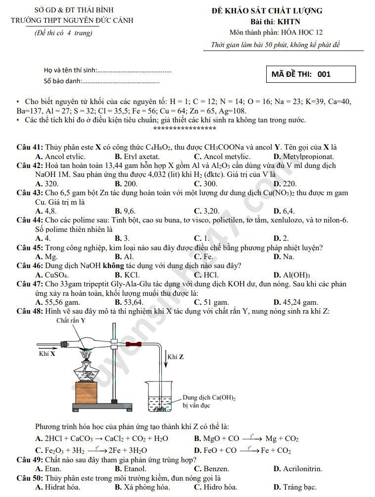 Đề thi thử THPTQG môn Hóa học năm 2020 THPT Nguyễn Đức Cảnh