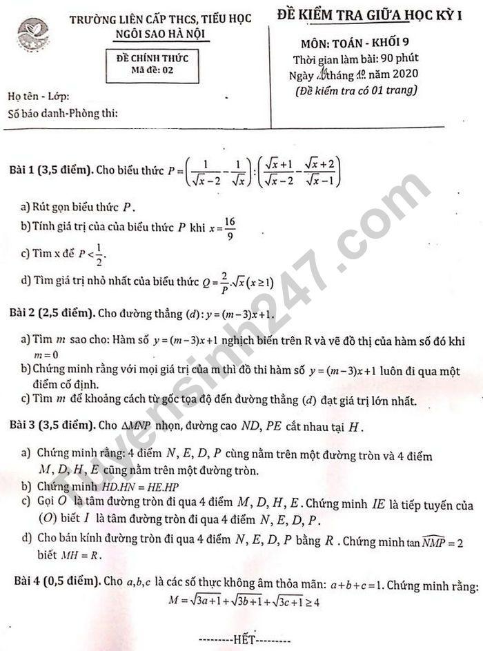 Đề thi giữa kì 1 lớp 9 môn Toán - Trường Liên cấp THCS-Tiểu học Ngôi Sao HN 2020