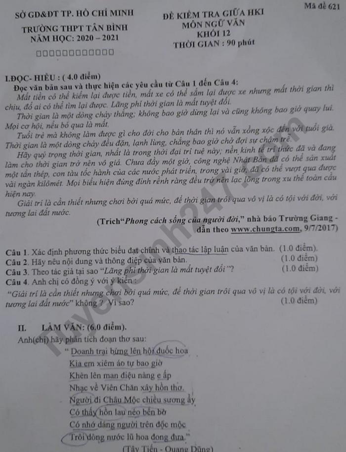 Đề kiểm tra giữa HK1 môn Văn lớp 12 Trường THPT Tân Bình 2020