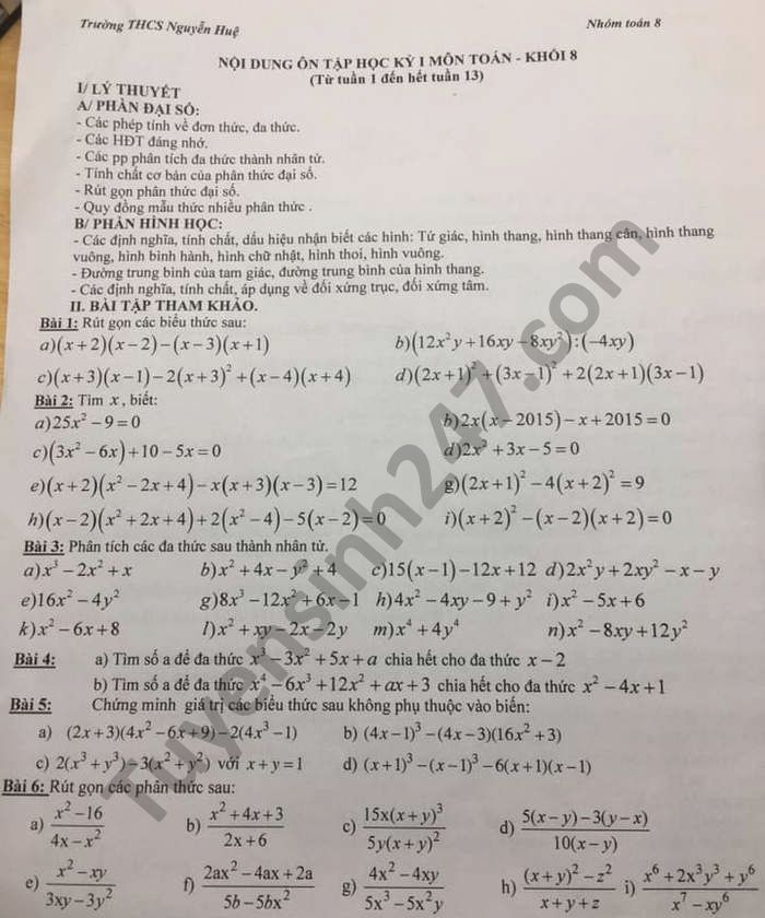 Đề cương ôn tập HK1 năm 2020 THCS Nguyễn Huệ môn Toán lớp 8