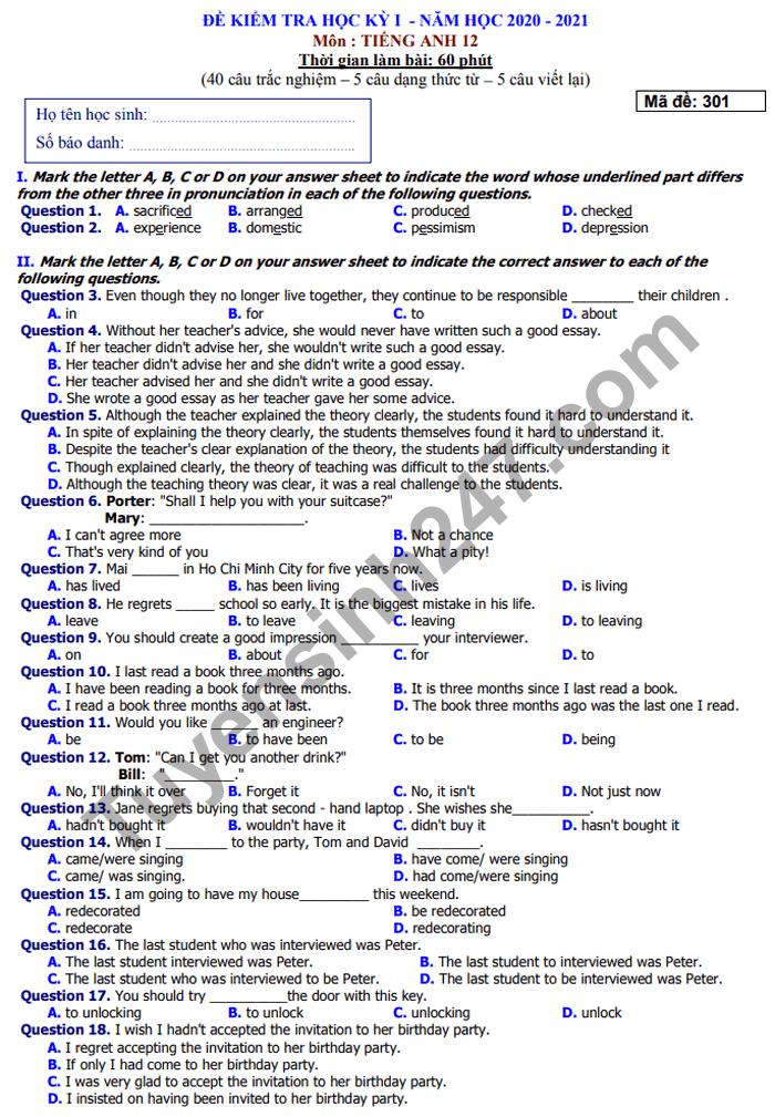 Đề kiểm tra HK1 môn Anh lớp 12 năm 2020 THPT Lương Văn Can
