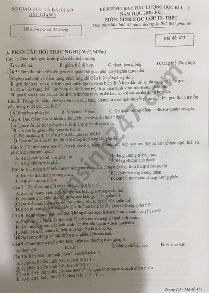 Đề thi học kì 1 năm 2020 tỉnh Bắc Giang môn Sinh lớp 12
