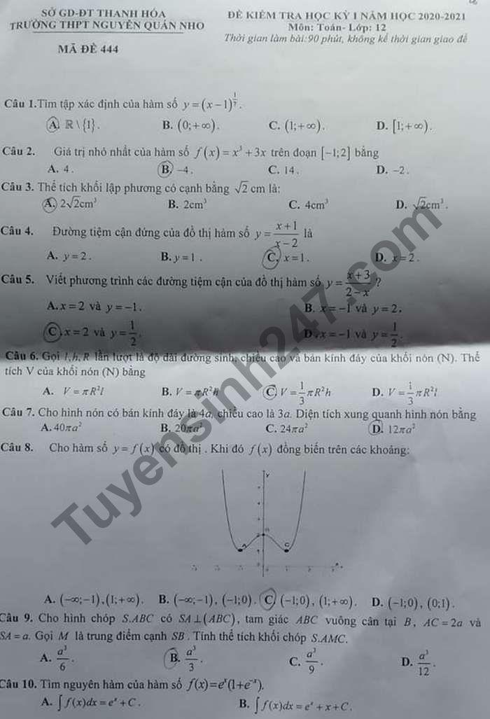 Đề thi học kì 1 THPT Nguyễn Quán Nho 2020 môn Toán lớp 12