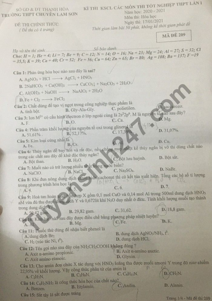 Đề thi thử Tốt nghiệp THPT 2021 môn Hóa THPT Chuyên Lam Sơn lần 1