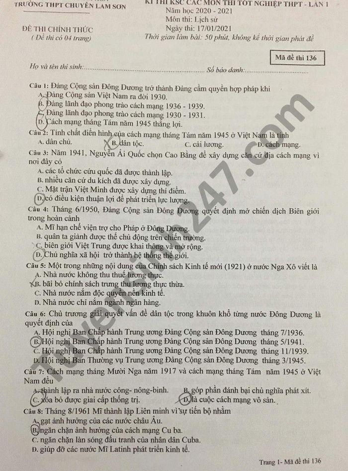 Đề thi thử tốt nghiệp THPT 2021 lần 1 môn Sử THPT chuyên Lam Sơn