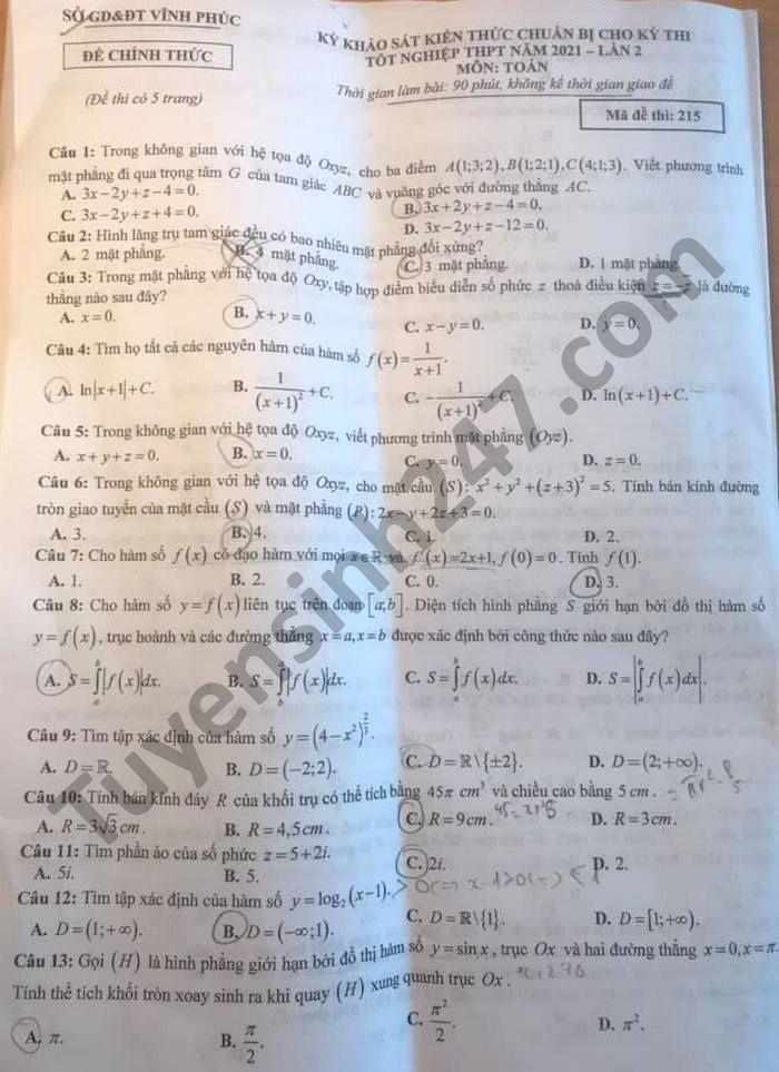 Đề thi thử tốt nghiệp THPT 2021 tỉnh Vĩnh Phúc lần 2 môn Toán