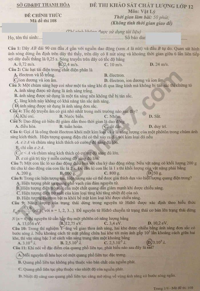 Đề khảo sát chất lượng lớp 12 môn Lý năm 2021 - tỉnh Thanh Hóa (có đáp án)