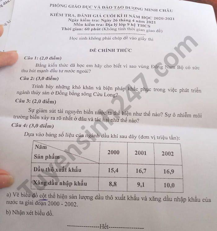 Đề thi học kì 2 năm 2021 môn Địa lớp 9 Phòng GD Dương Minh Châu