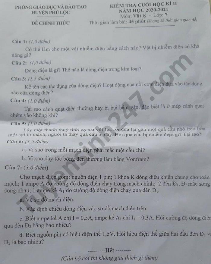 Đề thi học kì 2 môn Lý lớp 7 năm 2021 huyện Phú Lộc