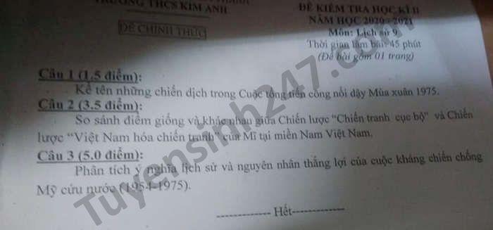 Đề thi học kì 2 THCS Kim Anh năm 2021 môn Sử lớp 9