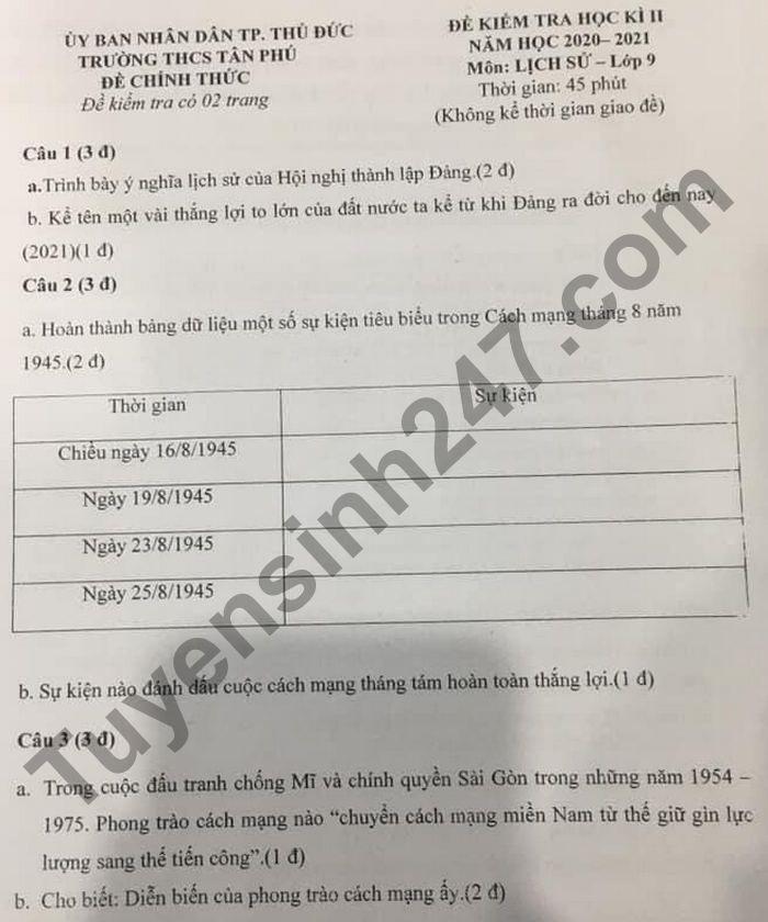 Đề thi học kì 2 lớp 9 môn Sử 2021 - THCS Tân Phú