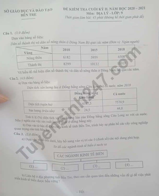 Đề thi kì 2 môn Địa lớp 9 năm 2021 - Sở GD Bến Tre (Có đáp án)