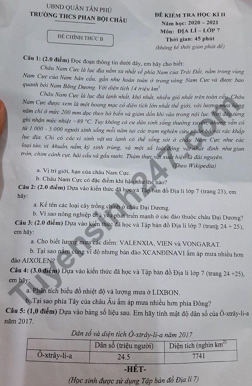 Đề thi học kì 2 lớp 7 môn Địa 2021 - THCS Phan Bội Châu