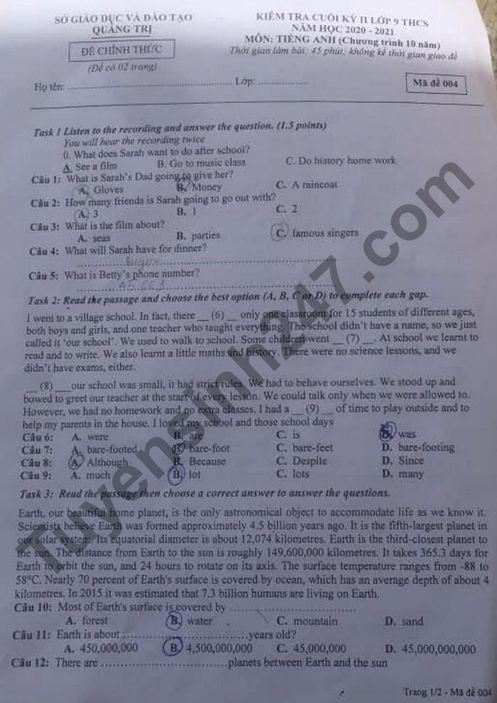 Đề thi học kì 2 năm 2021 tỉnh Quảng Trị môn Anh lớp 9 - Có đáp án