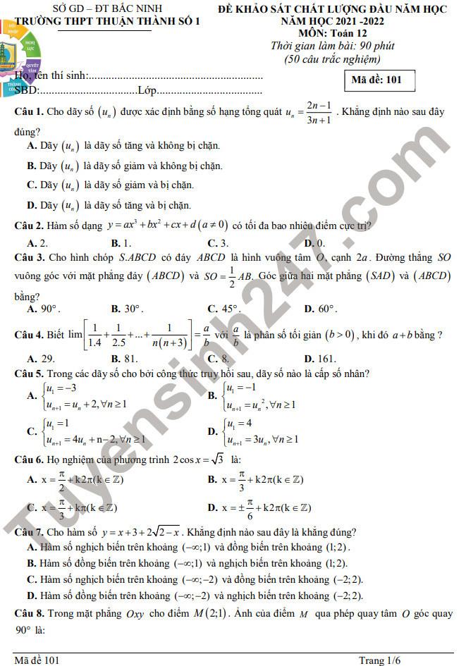Đề khảo sát chất lượng đầu năm 2021 lớp 12 môn Toán - THPT Thuận Thành 1